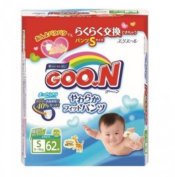 Трусики-подгузники GOO.N для активных детей 5-9 кг, размер S, унисекс, 62 шт