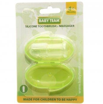 Зубная щетка-массажер силиконовая с контейнером BABY TEAM 7200 салатовый