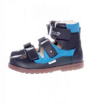 Туфли ортопедические кожаные Ortho Cyborg 2199-76, темно-синий с бирюзой
