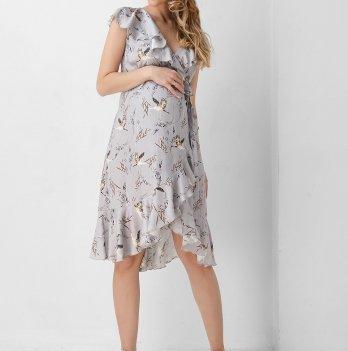 Платье для беременных и кормящих женщин Dianora серое с запахом 1906 0001