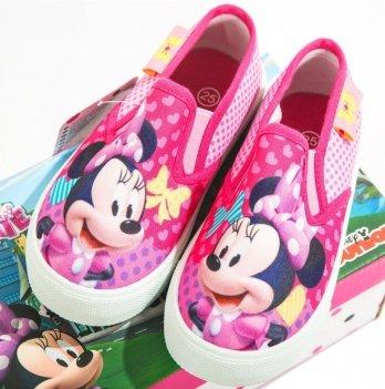 Слипоны для девочки Disney Минни Маус (Minnie), розовые