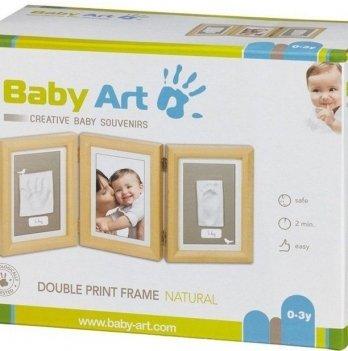 Фоторамка с набором для создания отпечатков Baby Art тройная, натуральная