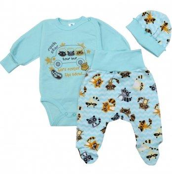 Комплект для новорожденных  Minikin Крошка Енот, 3 предмета, бирюзовый