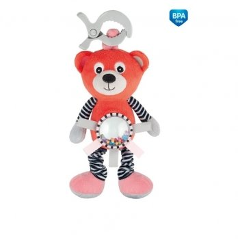 Игрушка мягкая вибрирующая с погремушкой Canpol babies Bears Коралловый 68/062
