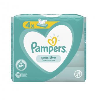 Детские влажные салфетки Pampers Sensitive 4x52 208 шт