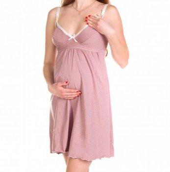 Ночная рубашка MammaLux со встроенным бюстом для лучшей поддержки груди розовая в горошек, 804