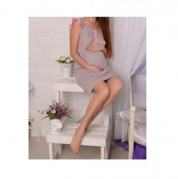 Ночная рубашка MammaLux для беременных и кормящих, серая в разноцветный горошек с розовой отделкой, 807