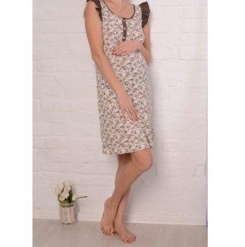 Ночная рубашка MammaLux для беременных и кормящих мам, шампань в мелкий коричневый цветочек с коричневой отделкой, 807