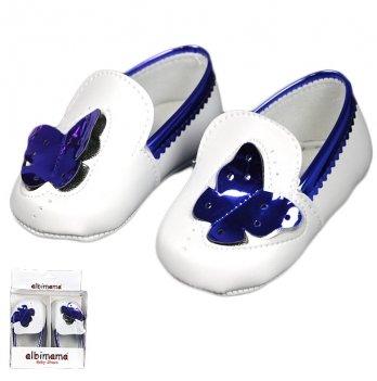 Пинетки для девочки из искусственной кожи, синие, возраст от 5 до 12 месяцев, Albimama