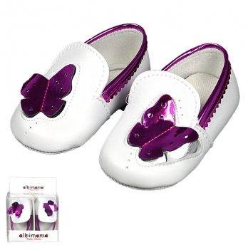 Пинетки для девочки из искусственной кожи, фиолетовые, возраст от 5 до 12 месяцев, Albimama