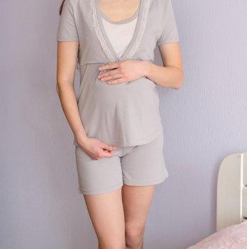 Пижама MammaLux для беременных и кормящих мам трикотаж Серая дымка в горошек, 814