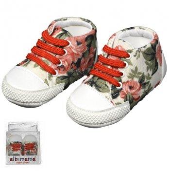Пинетки для девочки в цветочек, красные, возраст от 5 до 12 месяцев, Albimama