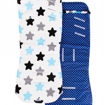 Матрасик в коляску, Merrygoround, Stars blue