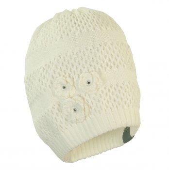 Шапка вязаная для девочки Huppa GLORIA белая 90020