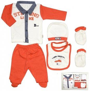 Комплект для новорожденного Bebemania, в коробке, 5 предметов, оранжевый