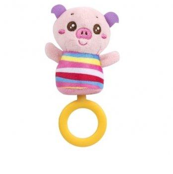 Мягкая игрушка с кольцом-грызунком Baby Team 8512 Хрюша