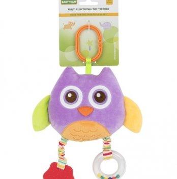 Мягкая многофункциональная игрушка-прорезыватель Baby Team 8533 Сова фиолетовая