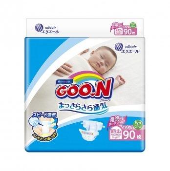 Подгузники дышащие GOO.N для новорожденных до 5 кг (размер SS, на липучках, унисекс,  90 шт)