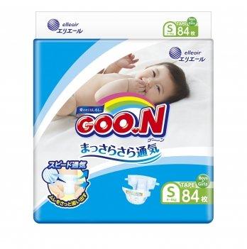 Подгузники дышащие GOO.N  для детей 4-8 кг (размер S, на липучках,  унисекс, 84 шт)
