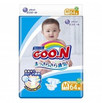 Подгузники дышащие GOO.N  для детей 6-11 кг (размер M, на липучках, унисекс, 64 шт)