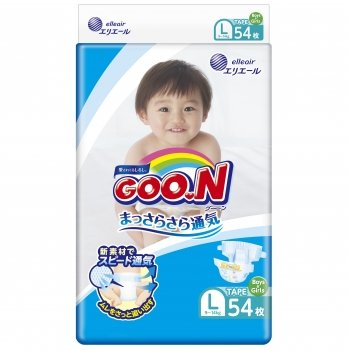 Подгузники дышащие GOO.N  для детей 9-14 кг (размер L, на липучках, унисекс, 54 шт)