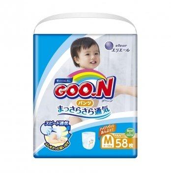 Трусики-подгузники дышащие GOO.N для детей 6-12 кг (размер M, унисекс, 58 шт)