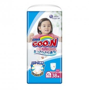 Трусики-подгузники дышащие GOO.N для девочек 12-20 кг (размер Big (XL), 38 шт)
