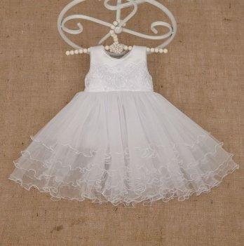 Платье Бетис Жемчужинка атлас/фатин Белый 27076242 1,5-8 лет