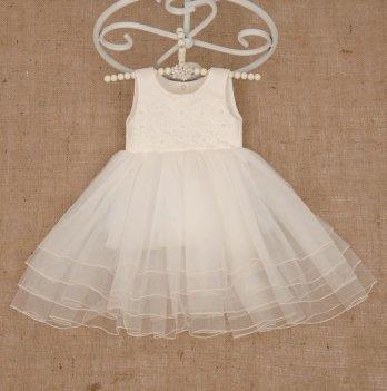 Платье Бетис Жемчужинка атлас/фатин Молочный 27081590