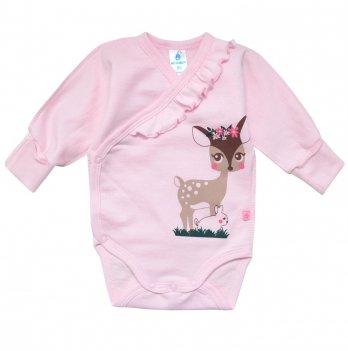 Боди с запахом для девочки Minikin Малышка лань, розовое