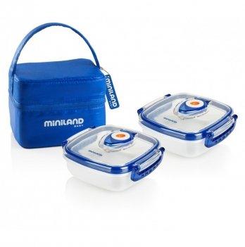 Термосумка Miniland Baby с 2 вакуумными судочками, PACK-2-GO HERMIFRESH, синяя