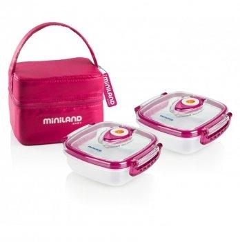 Термосумка Miniland Baby с 2 вакуумными судочками, PACK-2-GO HERMIFRESH, розовая