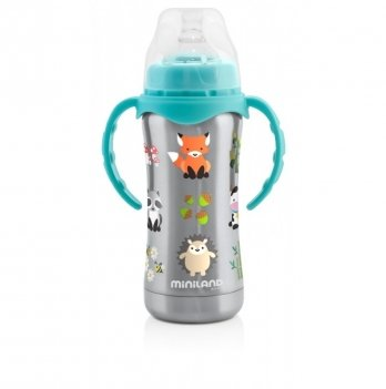 Термопоильник Miniland Baby Thermobaby Silver с cocкой 180 мл