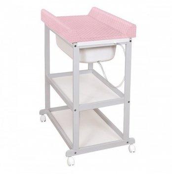 Пеленальный столик Ceba Baby Laura с матрасиком Caro, розовый