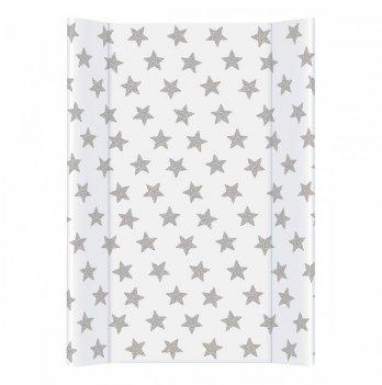 Пеленальный матрас Ceba Day&Night, 50х70 см, белый с узором звезды