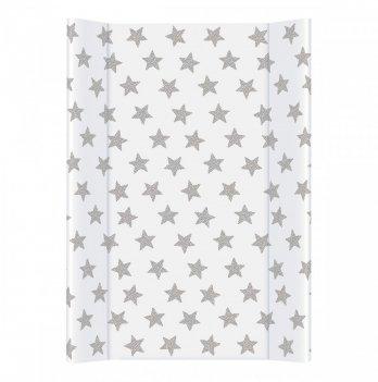 Пеленальный матрас Ceba Baby Day&Night, 50х80 см, белый с узором звезды