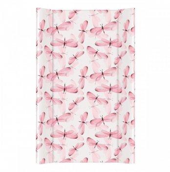 Пеленальный матрас Ceba Baby Flora&Fauna, 50х80 см, белый/розовым с узором стрекоза