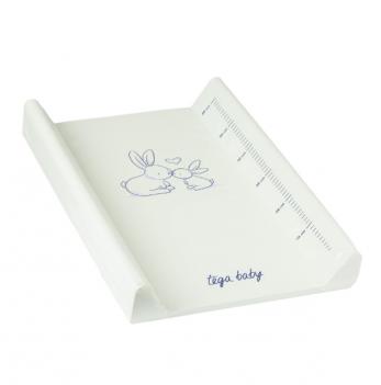 Пеленальный матрас Tega baby Зайчики, 50х70 см, белый