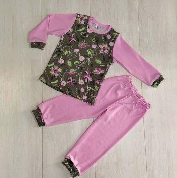Пижама для девочки PaMaYa Цветы на коричневом/Розовый 9-07-3