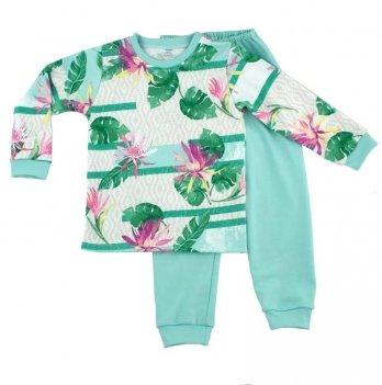 Пижама для девочки PaMaYa Цветы и папоротник 9-07 3-6 лет