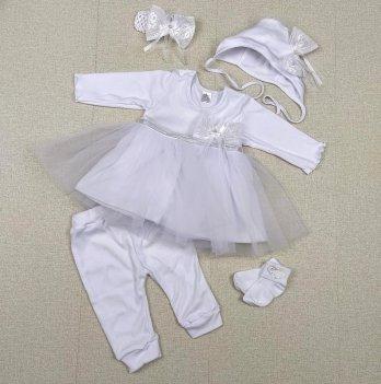 Крестильный набор на девочку PaMaYa Белый 0-9 мес 9-41