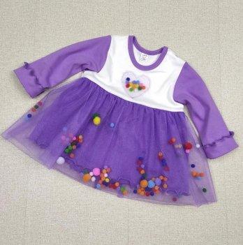 Детское платье с длинным рукавом PaMaYaСиреневый 6-9 мес 9-50