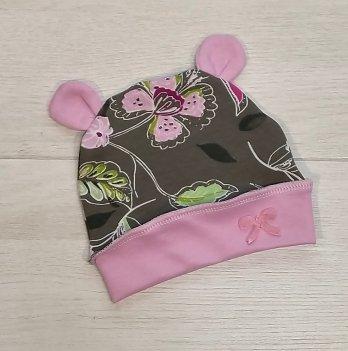 Шапочка с ушками PaMaYa Цветы на коричневом/Розовый 9-58-4