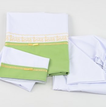 Комплект постельного белья ТМ Sasha с прошвой, белый/салатовый
