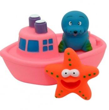 Набор игрушек для ванны Baby Team Корабль друзей 9000 розовый