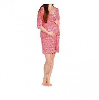 Халат MammaLux для беременных и кормящих мам трикотажный, рукав три четверти, в красно-белую клетку, 901