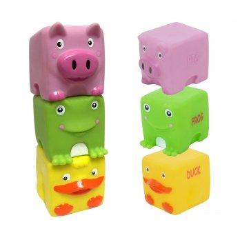 Набор игрушек для ванны BABY TEAM 9051 Зверята-кубики 3 шт