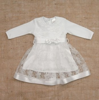 Платье Бетис Мечта интерлок/гипюр Белый 27076512 1,5-3 года