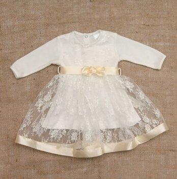 Платье Бетис Мечта интерлок/гипюр Молочный 27076515