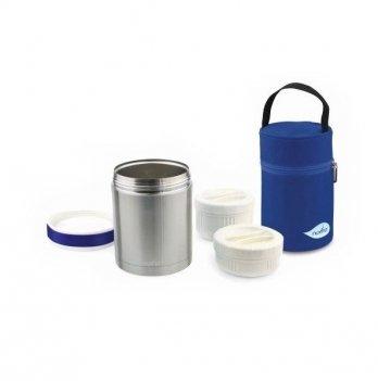 Термос металлический для еды Nuvita с термосумкой, 2 контейнера, 1000мл